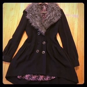 Coat with faux fur color | free people | small